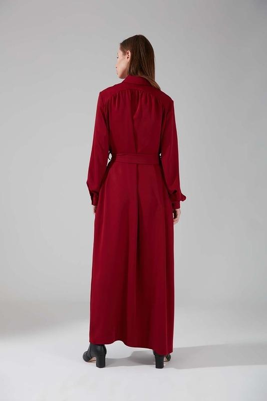 Viskon Uzun Elbise (Bordo)