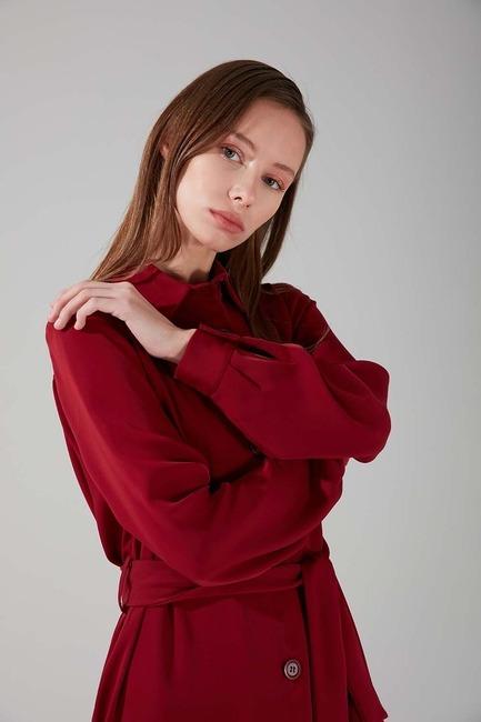Viskon Uzun Elbise (Bordo) - Thumbnail