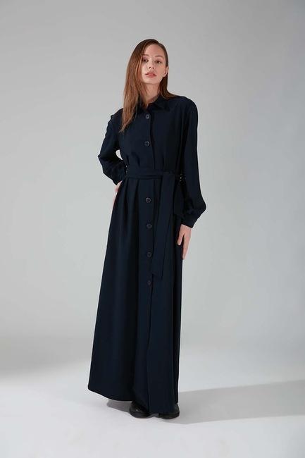 Mizalle - Viskon Uzun Elbise (Lacivert)