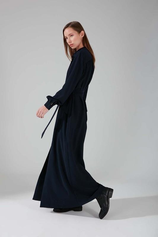 Viskon Uzun Elbise (Lacivert)