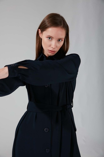 Viskon Uzun Elbise (Lacivert) - Thumbnail