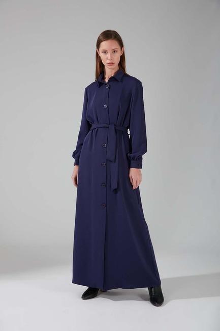 Mizalle - Viskon Uzun Elbise (Saks Mavisi)