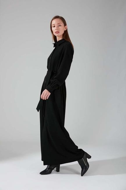 Viskon Uzun Elbise (Siyah) - Thumbnail