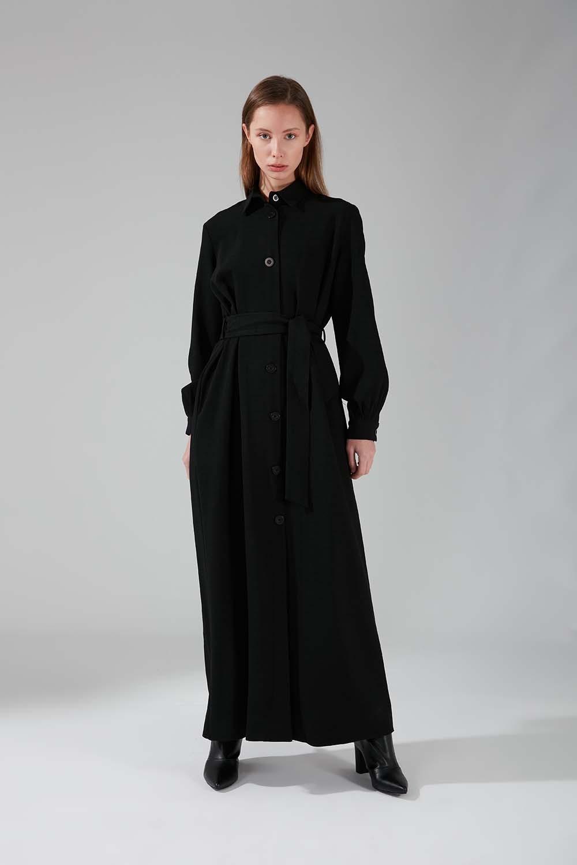Viskon Uzun Elbise (Siyah)