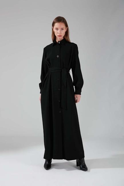 Mizalle - Viskon Uzun Elbise (Siyah)