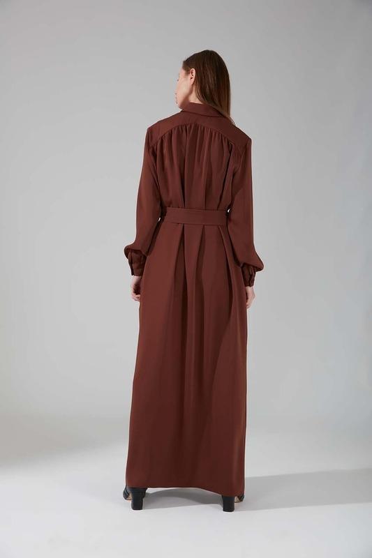 Viskon Uzun Elbise (Taba)