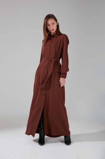 Mizalle - Viskon Uzun Elbise (Taba)