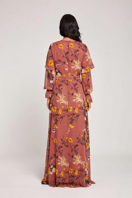 Volan Kollu Çiçekli Taba Elbise