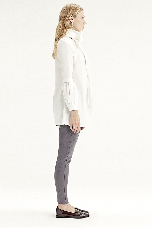MIZALLE قميص بأكمام مروحة (أبيض) (1)
