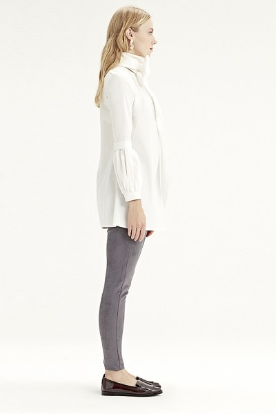 MIZALLE - قميص بأكمام مروحة (أبيض) (1)