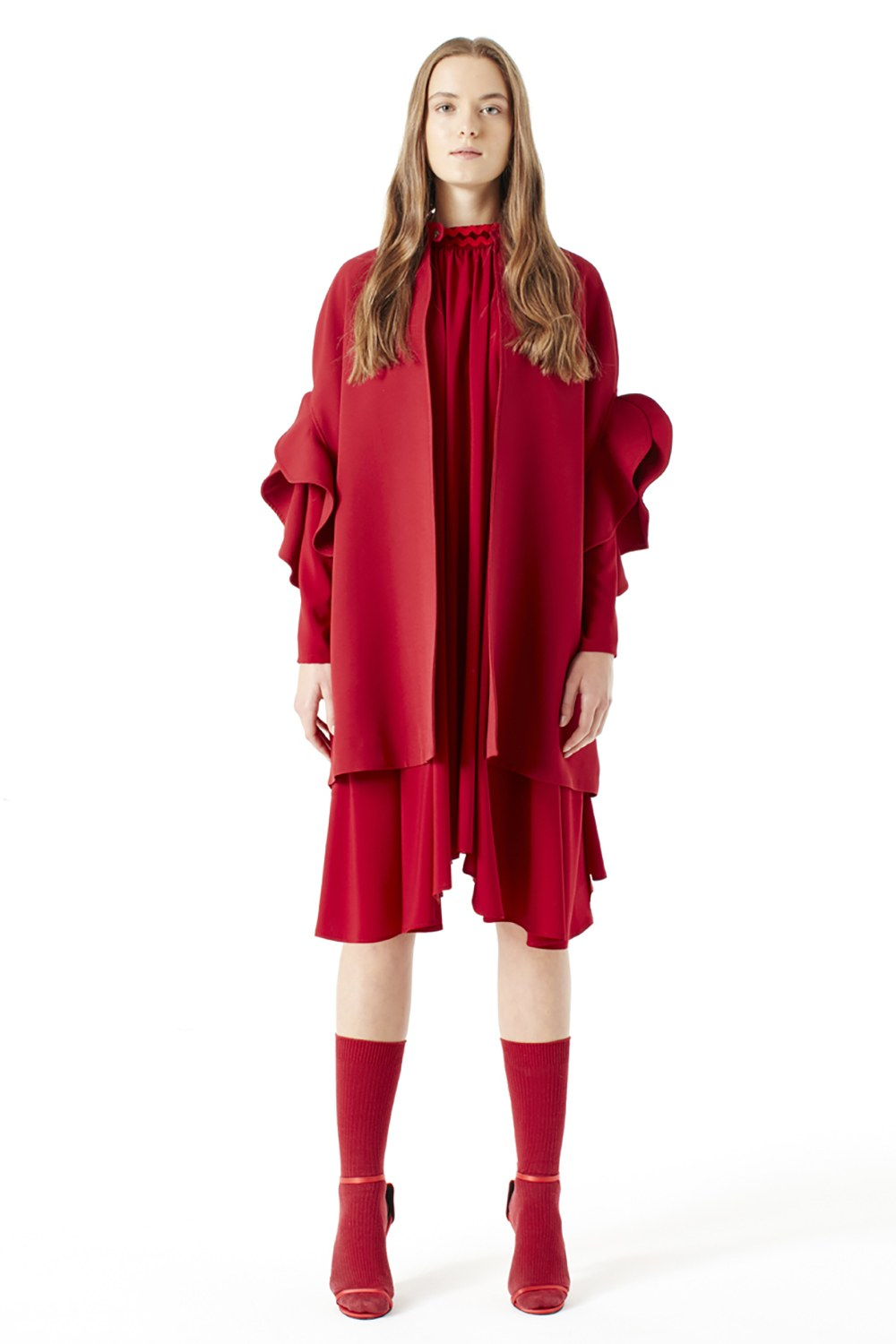 MIZALLE Flounce Sleeve Poncho (Claret Red) (1)