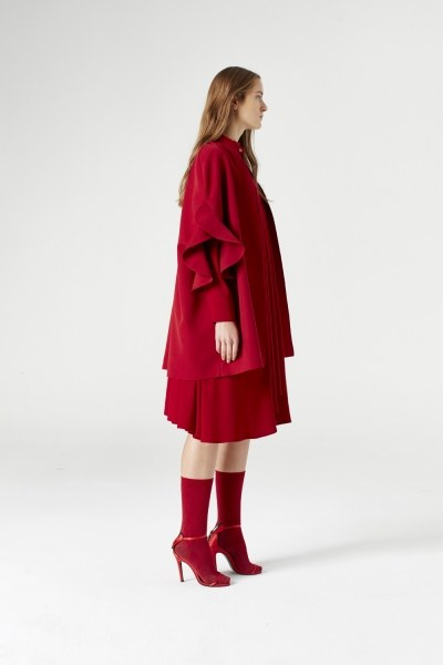 Flounce Sleeve Poncho (Claret Red) - Thumbnail