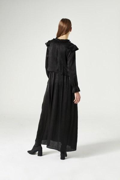 Volan Omuz Detaylı Elbise (Siyah) - Thumbnail
