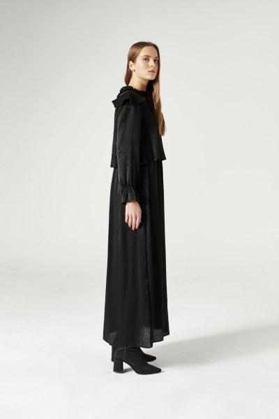 Flounce Shoulder Detailed Dress (Black) - Thumbnail