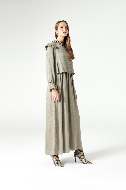 MIZALLE Volan Omuz Detaylı Elbise (Yeşil) (1)