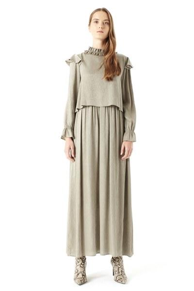 MIZALLE Volan Omuz Detaylı Elbise (Yeşil)