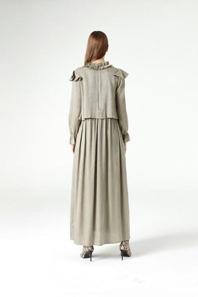 Flounce Shoulder Detailed Dress (Green) - Thumbnail