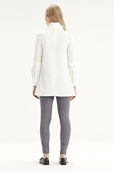Volant Sleeve Shirt (White) - Thumbnail