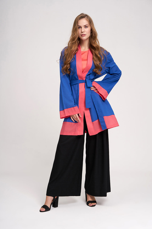 Vual Renkli Plaj Kimono (Saks)