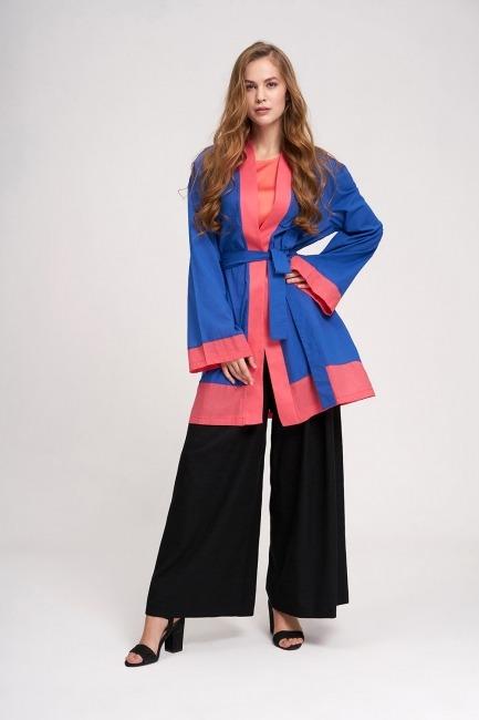 Mizalle - Vual Renkli Plaj Kimono (Saks)