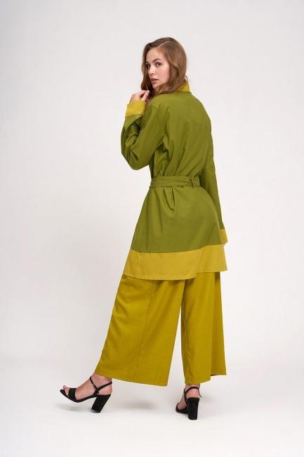 Vual Renkli Plaj Kimono (Yeşil) - Thumbnail