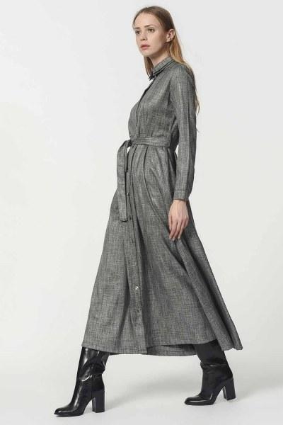 Waist Belt Detailed Dress (Grey) - Thumbnail