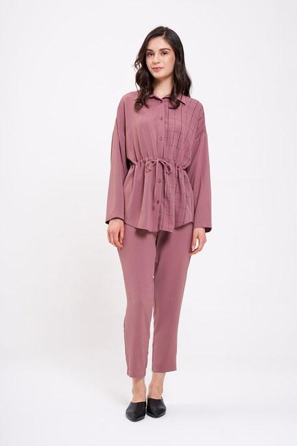 Mizalle - Waist Lace Up Shirt (Rose) (1)