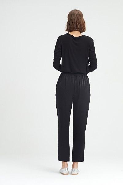 Waist-Pleated Trousers (Black) - Thumbnail