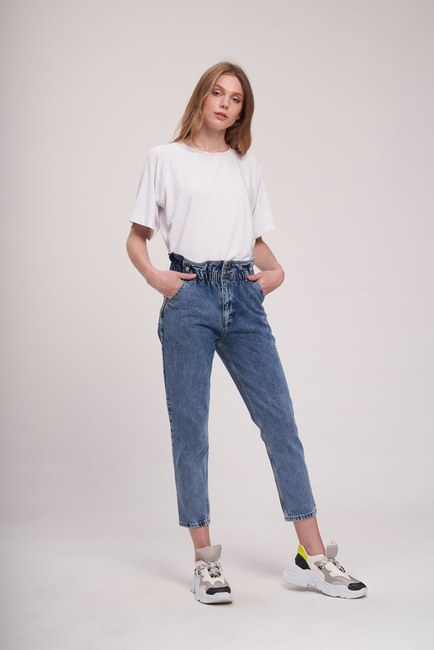 MIZALLE YOUTH - Waist Ruffle Trousers (Indigo) (1)