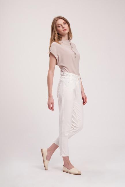 MIZALLE YOUTH - Waist Ruffle Trousers (White) (1)