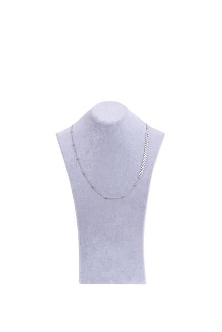 MIZALLE - White Leaf Detailed Necklace (Grey) (1)