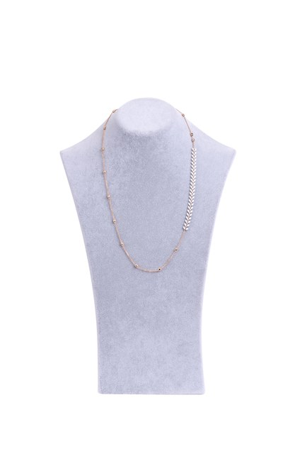 MIZALLE - White Leaf Detailed Necklace (Yellow) (1)