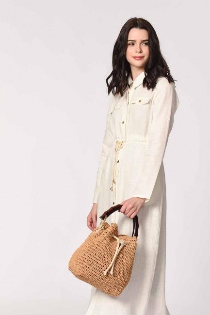 Wood Handle Knitting Hand Bag (Beige) - Thumbnail