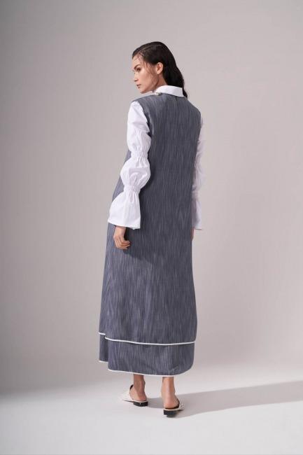 Yaka Aksesuarlı İndigo Elbise - Thumbnail