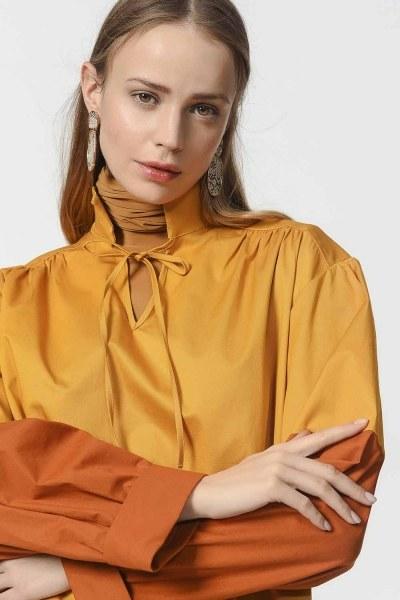 Collar Lacing Tunic With Pockets (Mustard) - Thumbnail