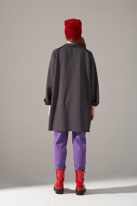 Yaka Bağcıklı Antrasit Sweatshirt
