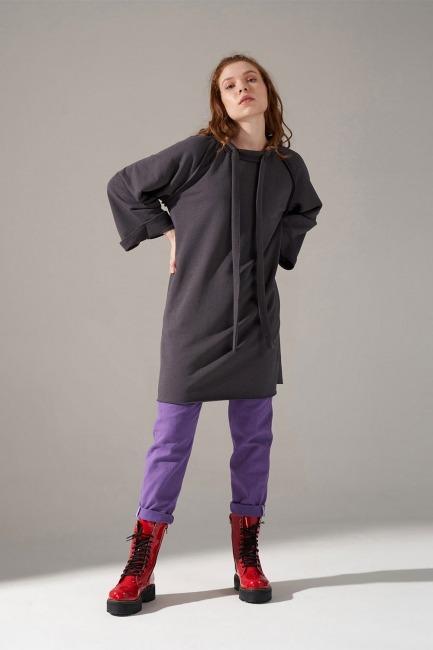 Mizalle - Yaka Bağcıklı Sweatshirt (Antrasit)