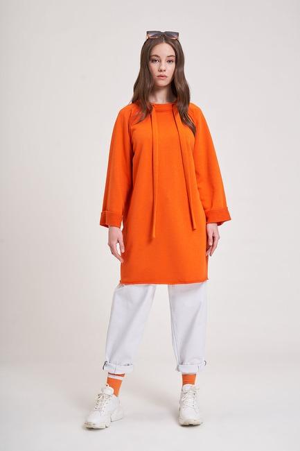 Mizalle - Yaka Bağcıklı Sweatshirt (Turuncu)