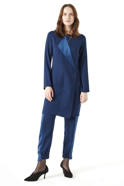 MIZALLE Zip Collar Detailed Tunic (Indigo)