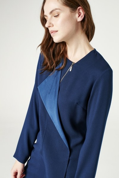 Zip Collar Detailed Tunic (Indigo) - Thumbnail