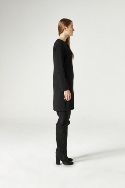 Yaka Fermuar Detaylı Tunik (Siyah) - Thumbnail
