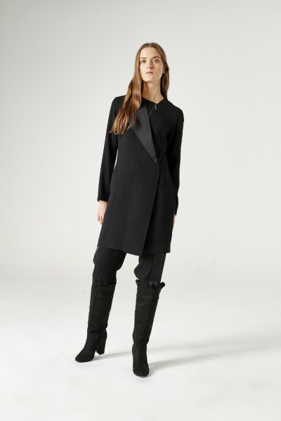 Zip Collar Detailed Tunic (Black) - Thumbnail