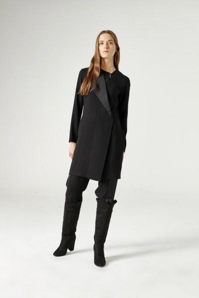 MIZALLE - Yaka Fermuar Detaylı Tunik (Siyah) (1)