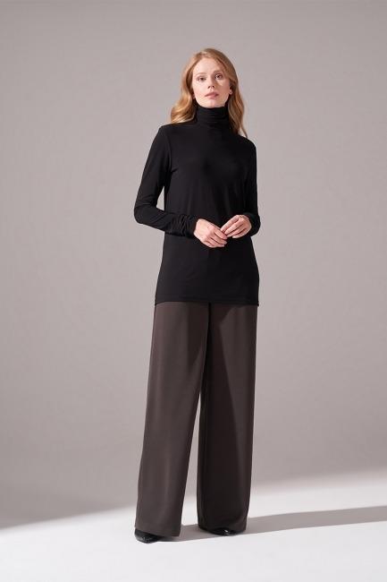 Mizalle - Yaka Kol Büzgülü Sandy Bluz (Siyah)