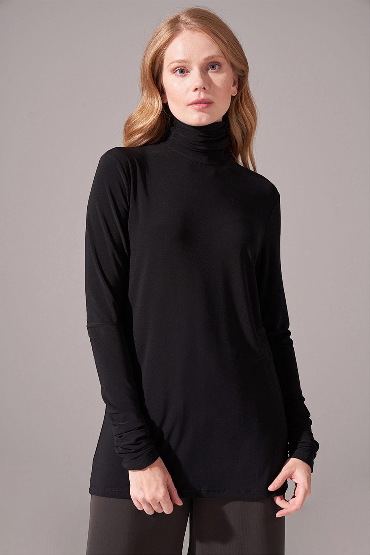 Yaka Kol Büzgülü Sandy Bluz (Siyah)