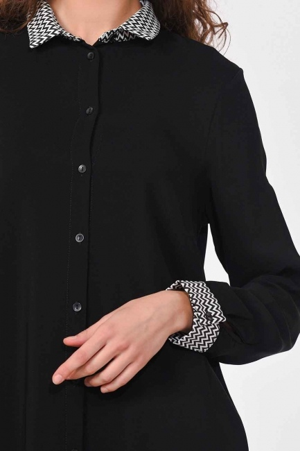 Collar Cuff Patterned Tunic Shirt (Black) - Thumbnail