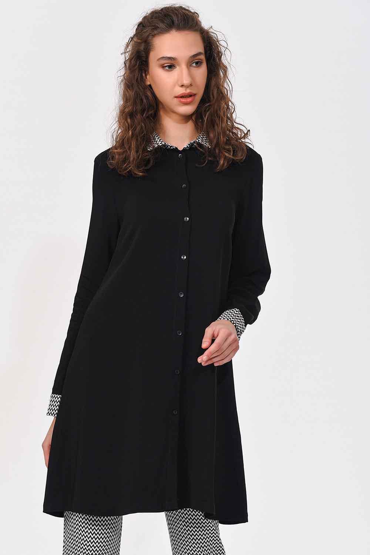 MIZALLE Collar Cuff Patterned Tunic Shirt (Black) (1)