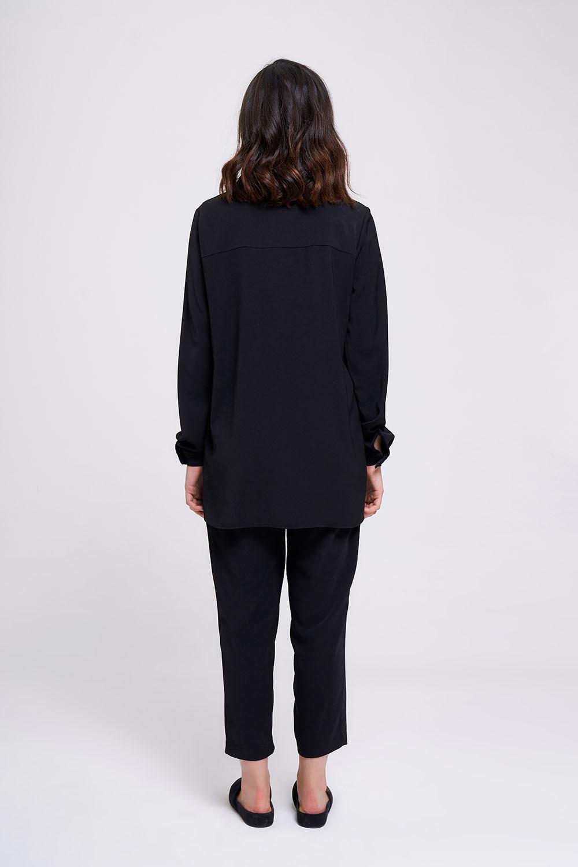 Yaka Manşet Su Taşlı Bluz (Siyah)