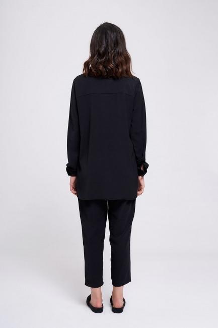 Yaka Manşet Su Taşlı Bluz (Siyah) - Thumbnail