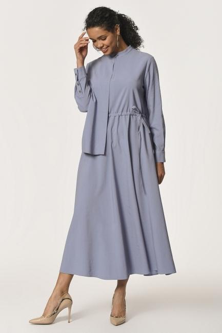 فستان طويل مع طوق شال مفصل(أزرق) - Thumbnail